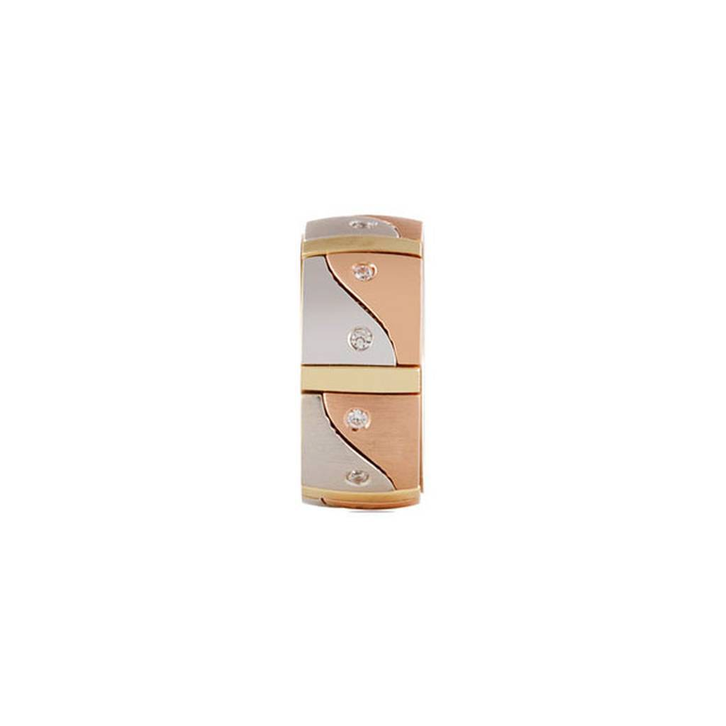 White, Rose and Yellow Gold Harp Wedding Band w/ Diamonds