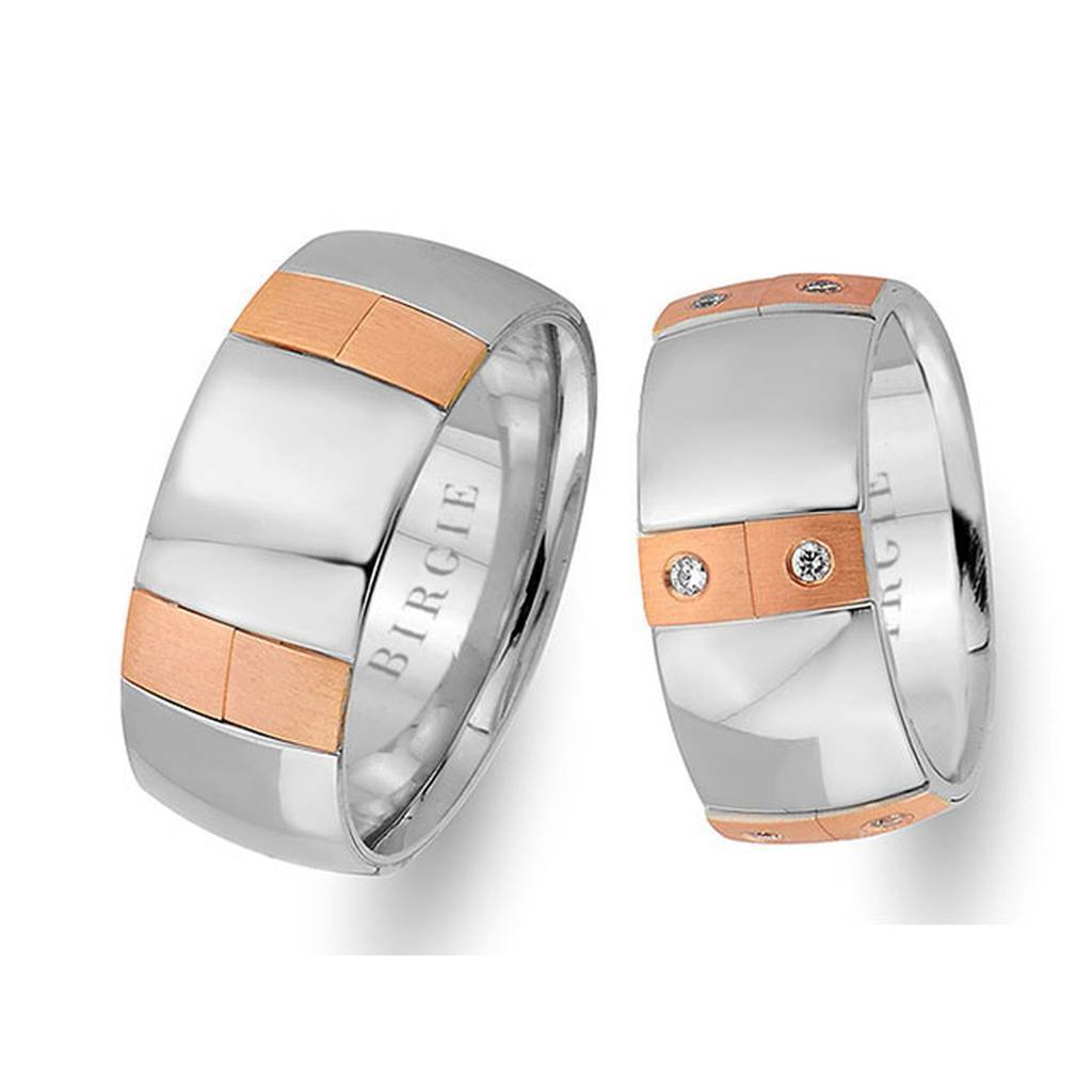 White and Rose Gold Wedding Band w/ Diamonds