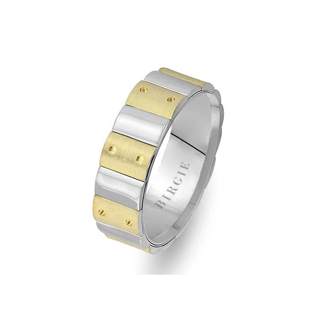 Sanded White and Yellow Gold Harran Wedding Band
