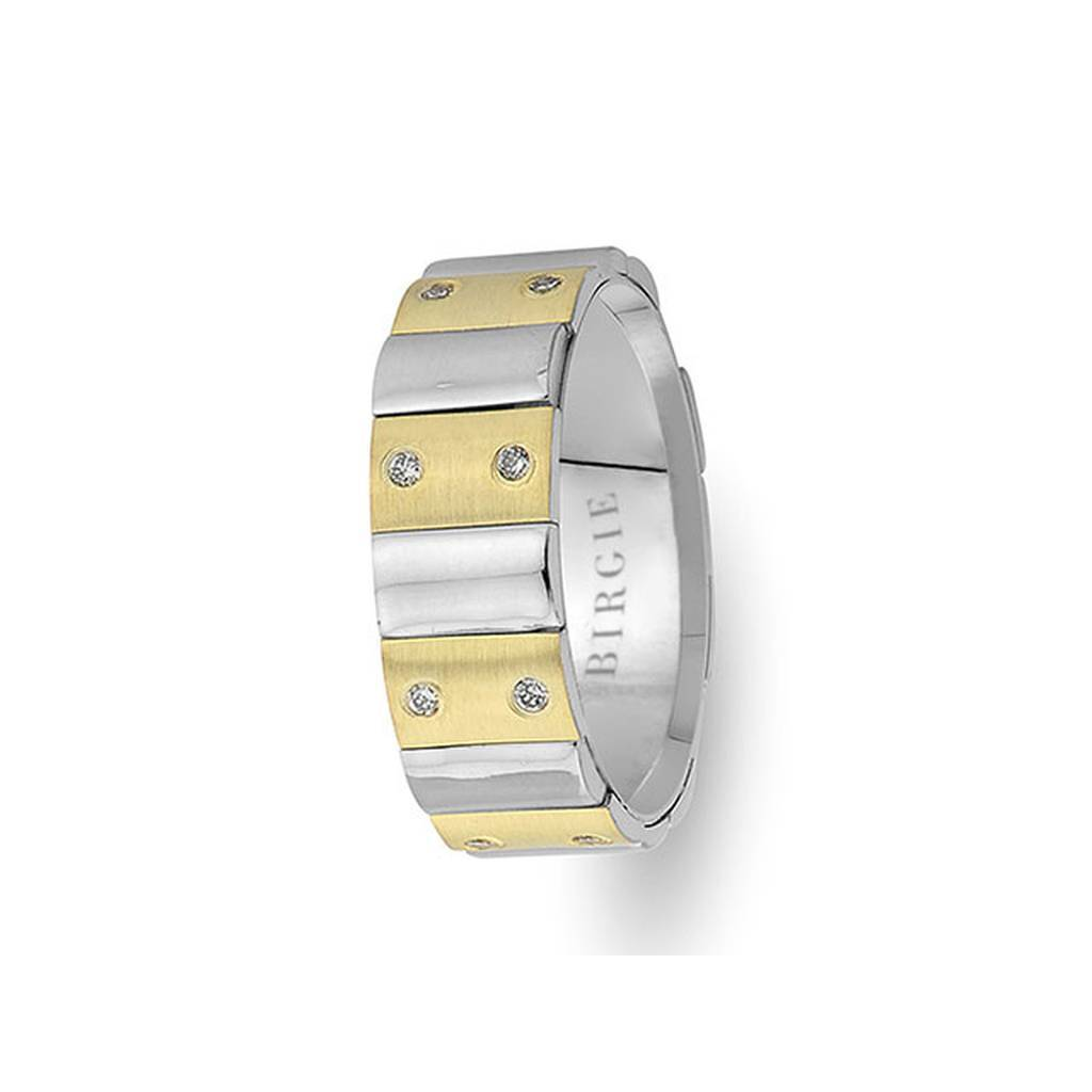 Sanded White and Yellow Gold Harran Wedding Band w/ Diamonds