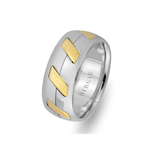 Modern Design White and Yellow Gold Wedding Band