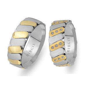 Diagonal Design White and Yellow Gold Wedding Band w/ Diamonds