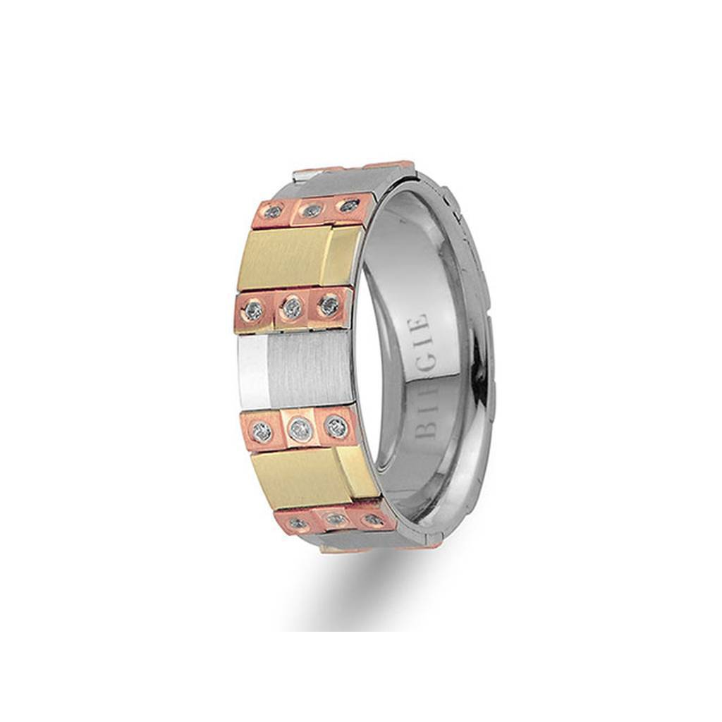 Rose, White and Yellow Gold Broadway Wedding Band w/ Diamonds