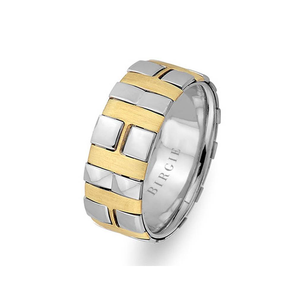 White and Yellow Gold Cavalry Wedding Band