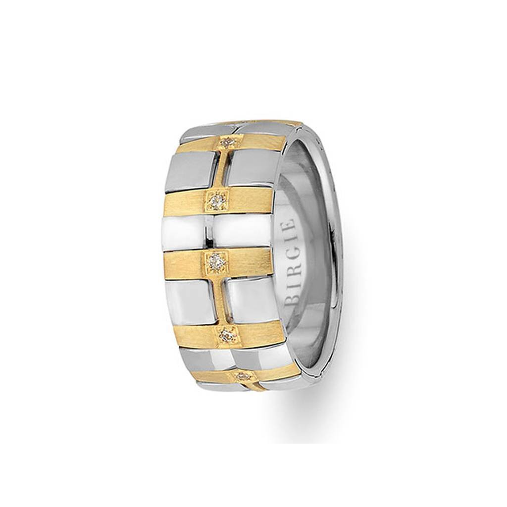 White and Yellow Gold Cavalry Wedding Band w/ Diamonds
