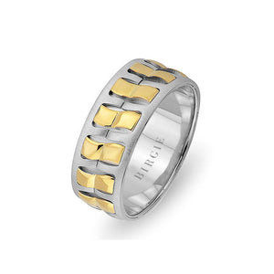 Diagonal Design White and Yellow Gold Wedding Band