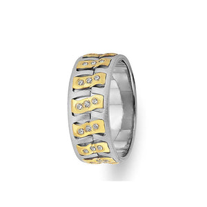 Diagol Design White and Yellow Gold Wedding Band w/ Diamonds