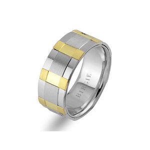White and Yellow Gold Moonlight Wedding Band