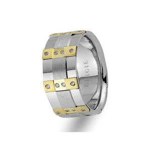 White and Yellow Gold Moonlight Wedding Band w/ Diamonds