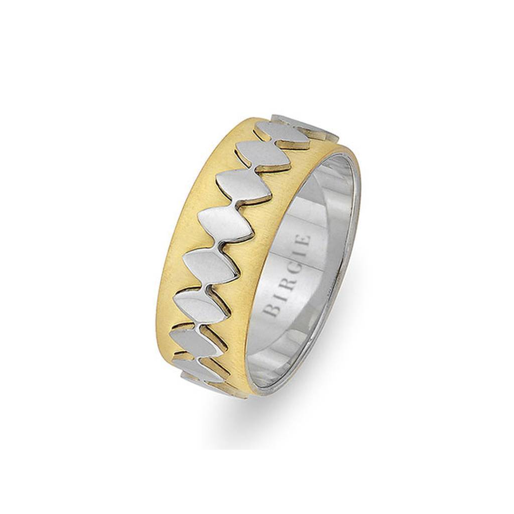 Sanded White and Yellow Gold Allegro Wedding Band