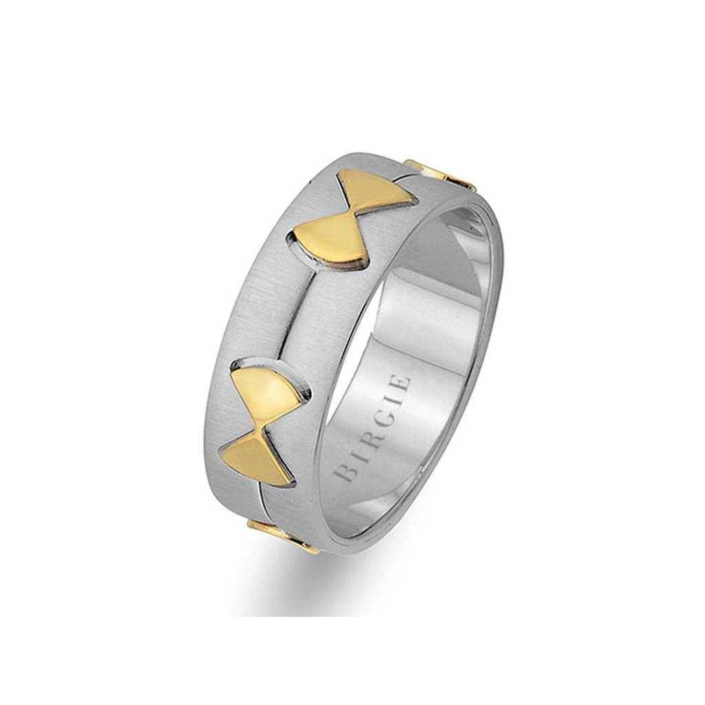 White and Yellow Gold Ribbon Wedding Band