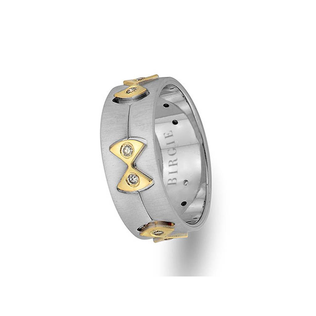 White and Yellow Gold Ribbon Wedding Band w/ Diamonds
