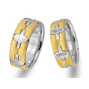 White and Yellow Gold Pandora Wedding Band w/ Diamonds