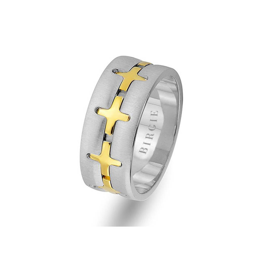 White and Yellow Gold Pandora Wedding Band
