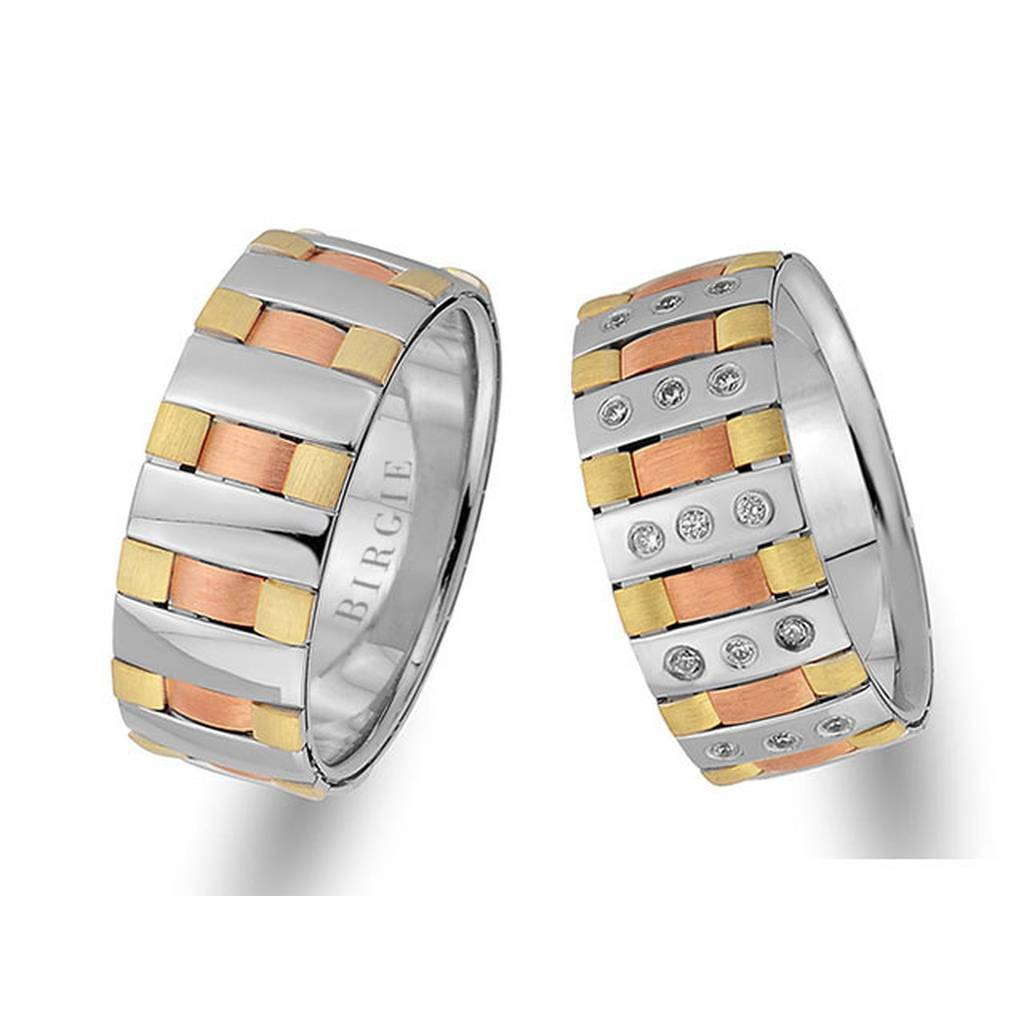 Rose, White and Yellow Gold New York Wedding Band w/ Diamonds