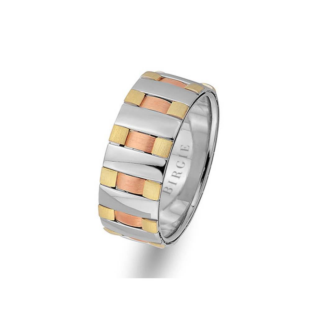 Rose, White and Yellow Gold New York Wedding Band