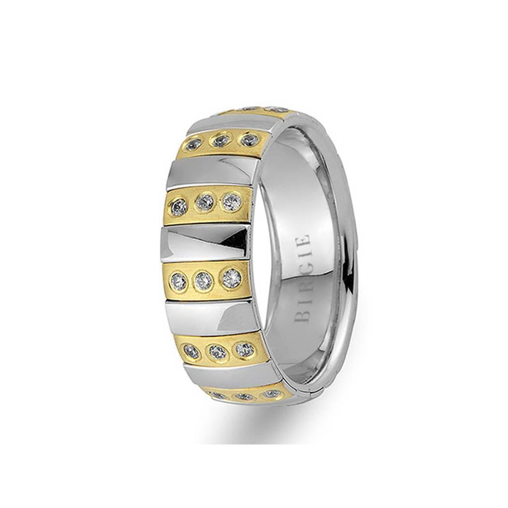 White and Yellow Gold Rothko Wedding Band w/ Diamonds