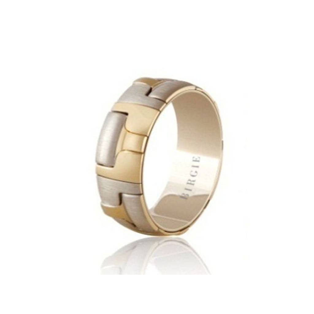 White and Yellow Gold Light Wall Wedding Band