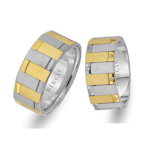 Sanded White and Yellow Gold Cairo Wedding Band w/ Diamonds