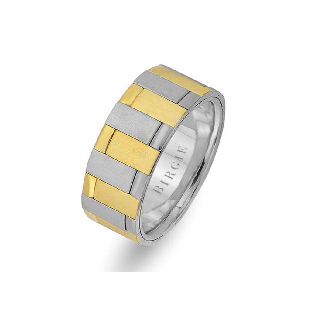 Sanded White and Yellow Gold Cairo Wedding Band