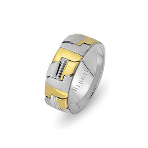 White and Yellow Gold Avignon Wedding Band