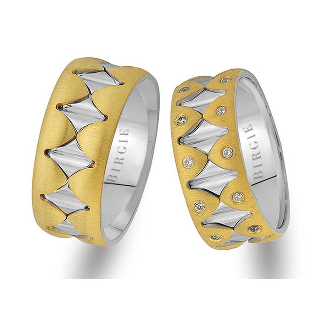 White and Yellow Gold Whispering Wall Wedding Band w/ Diamonds