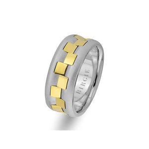 White and Yellow Gold Pavilion Wedding Band