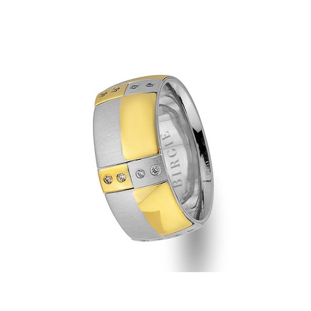 White and Yellow Gold Io Wedding Band w/ Diamonds