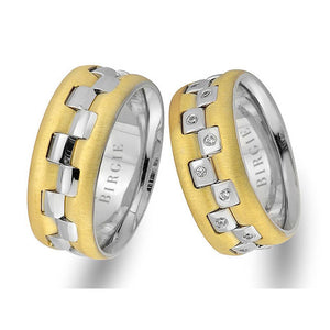 White and Yellow Gold Rhythmic Wedding Band w/ Diamonds