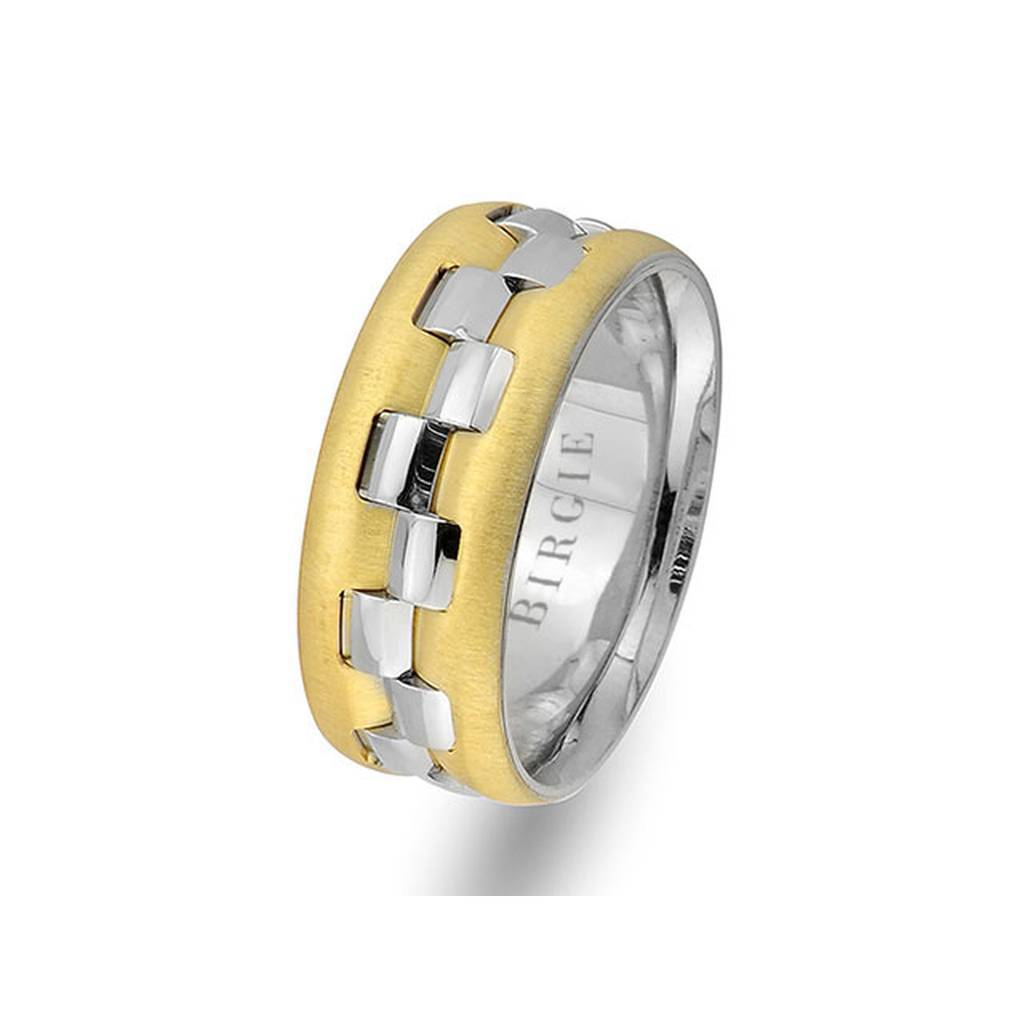 White and Yellow Gold Rhythmic Wedding Band