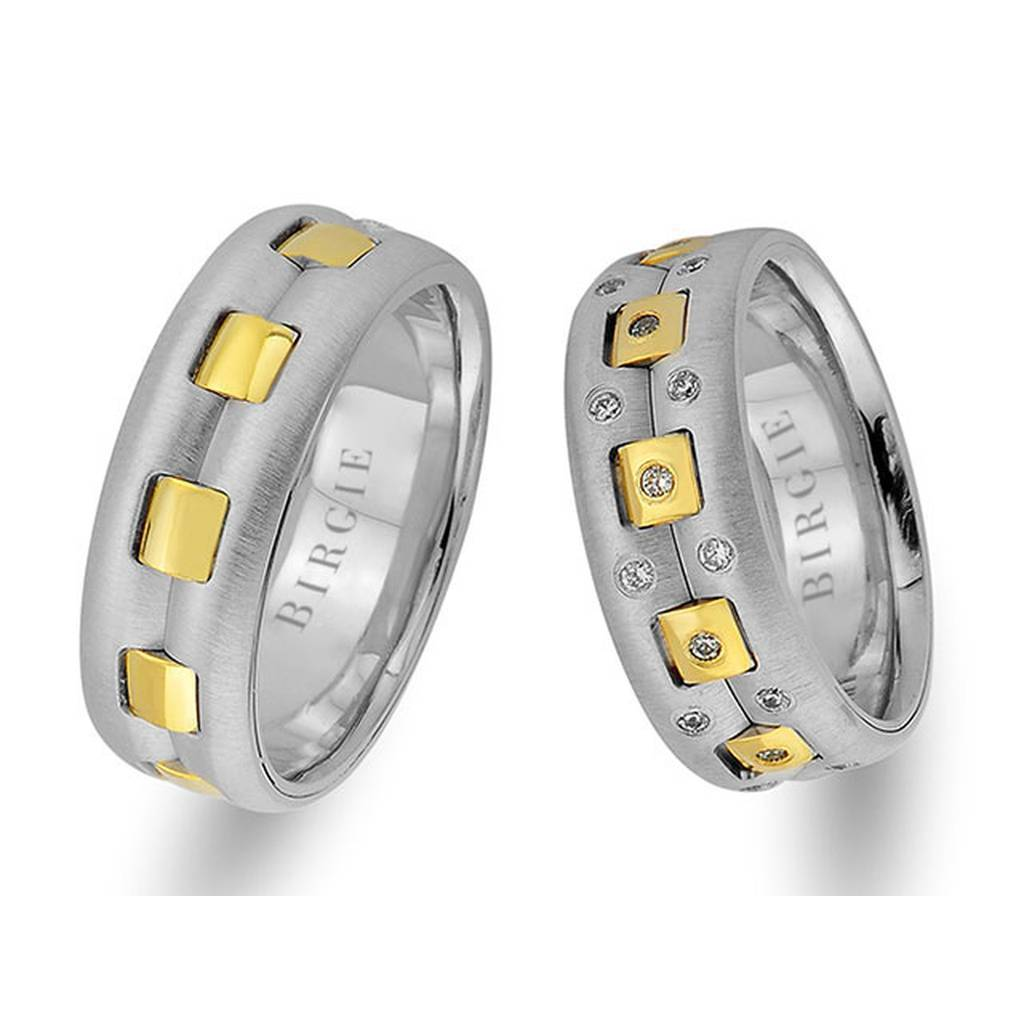 White and Yellow Gold Picabia Wedding Band w/ Diamonds