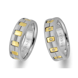 White and Yellow Gold Presto Wedding Band w/ Diamonds