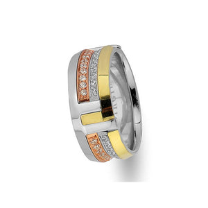 Rose, White and Yellow Gold Arran Wedding Band w/ Diamonds