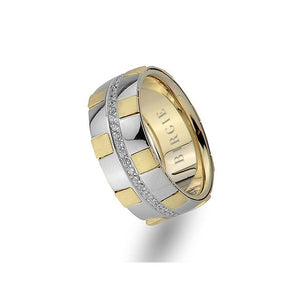 White and Yellow Gold Rustic Wedding Band w/ Diamonds