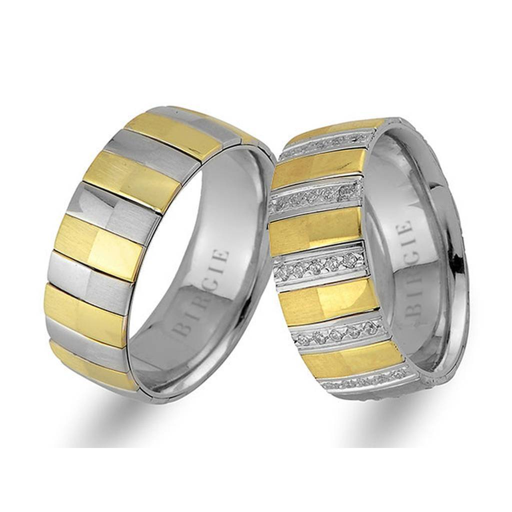 White and Yellow Gold Adagio Wedding Band w/ Diamonds
