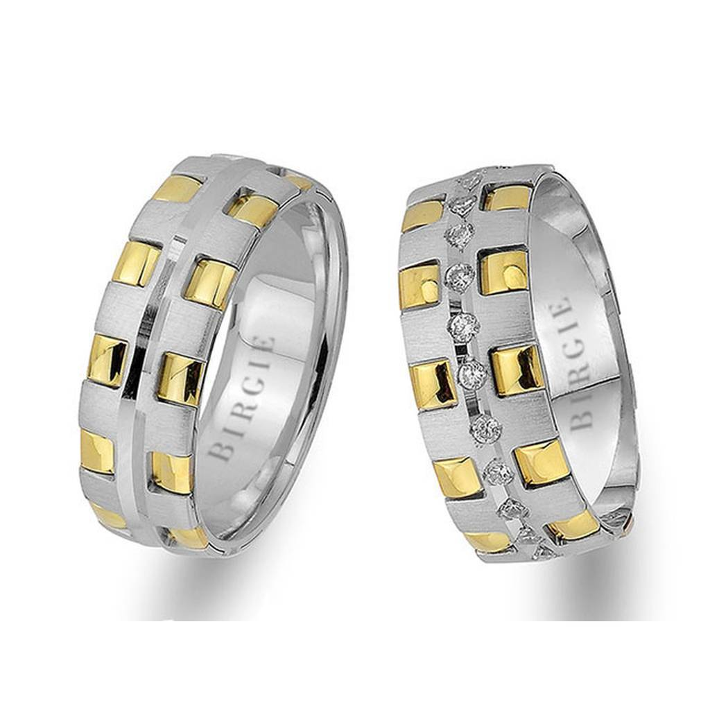 White and Yellow Gold Stylish Wedding Band w/ Diamonds