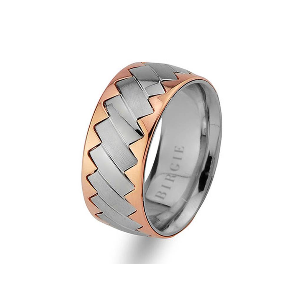 White and Rose Gold Sky Wedding Band