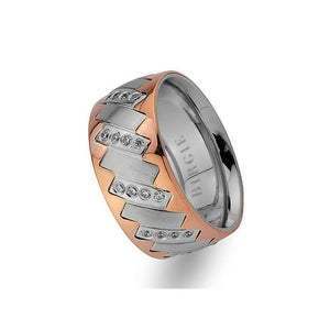 White and Rose Gold Sky Wedding Band w/ Diamonds
