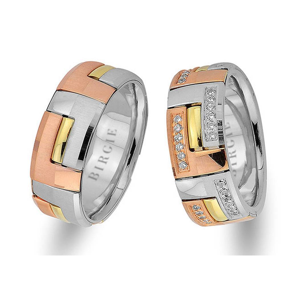 Rose, White and Yellow Gold Stylish Wedding Band w/ Twin Line Diamonds
