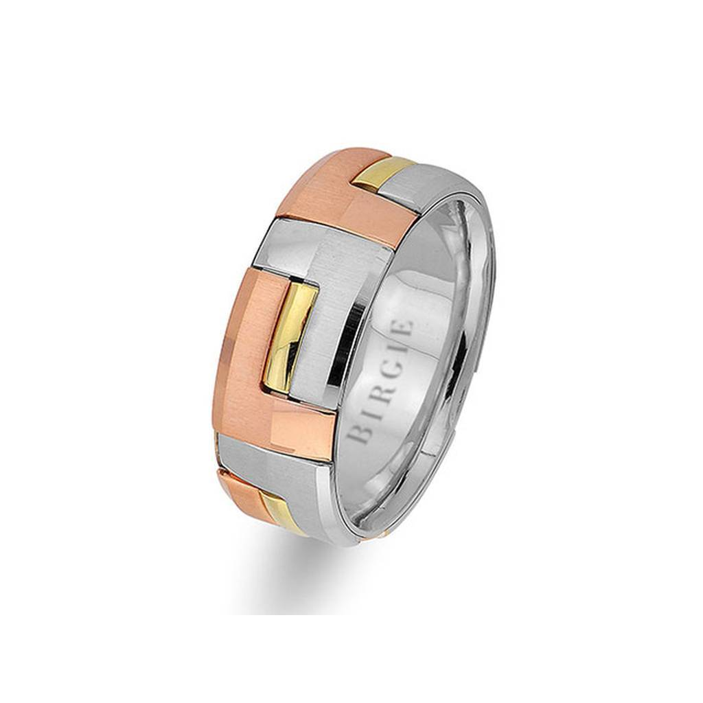 Rose, White and Yellow Gold Stylish Wedding Band