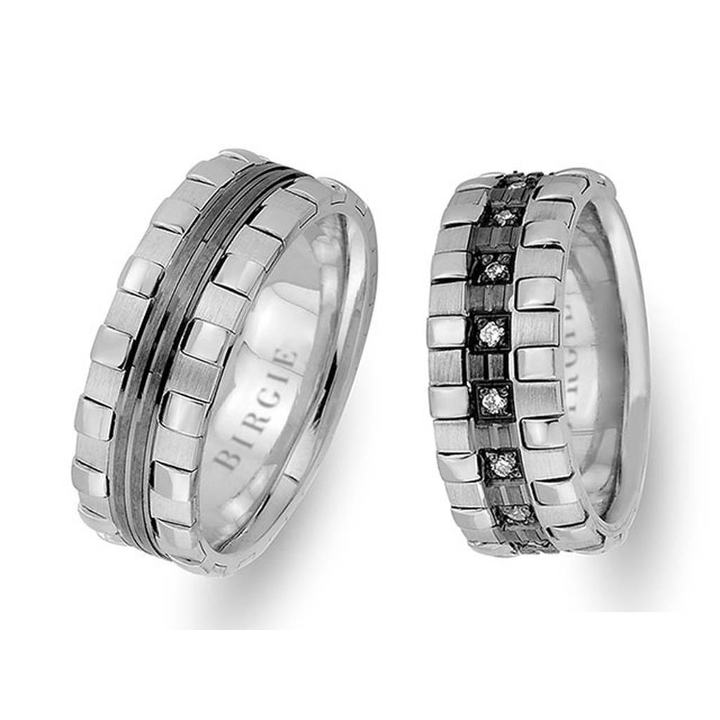 White Gold Harp Wedding Band w/ Diamonds