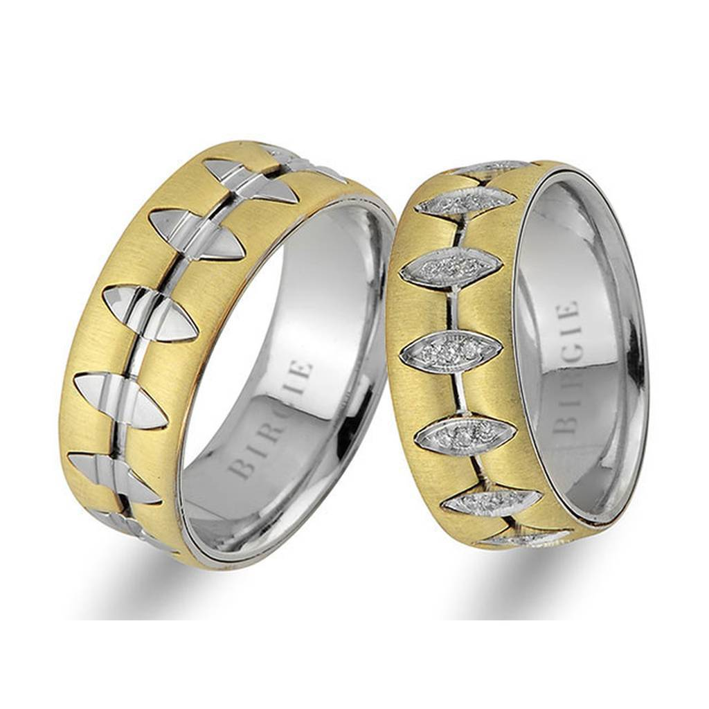 White and Yellow Gold La Luna Wedding Band w/ Diamonds