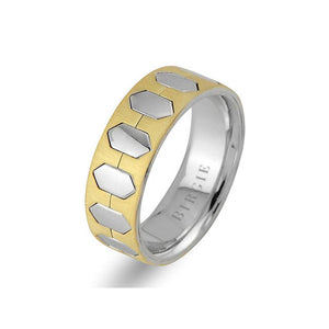 White and Yellow Gold Hexagon Wedding Band