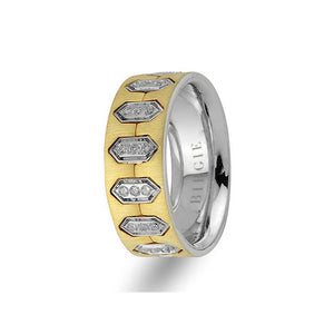 White and Yellow Gold Hexagon Wedding Band w/ Diamonds