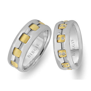 White and Yellow Gold Saratoga Wedding Band w/ Diamonds