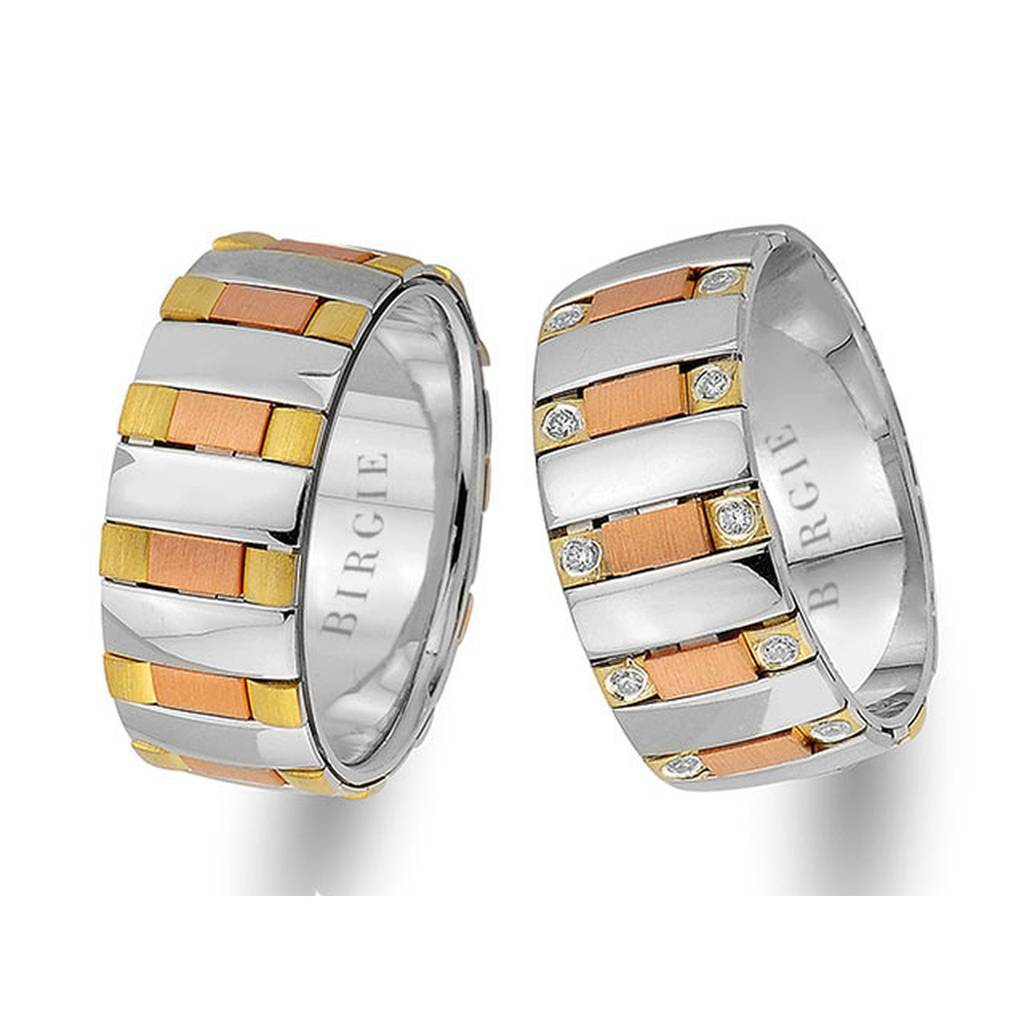 White, Rose and Yellow Gold Molloy Wedding Band w/ Diamonds