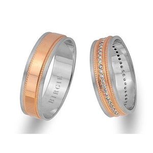 Classical Design White and Rose Gold Wedding Band w/ Diamonds