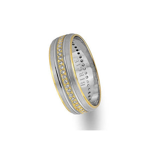 Classical Design White and Yellow Gold Wedding Band w/ Diamonds