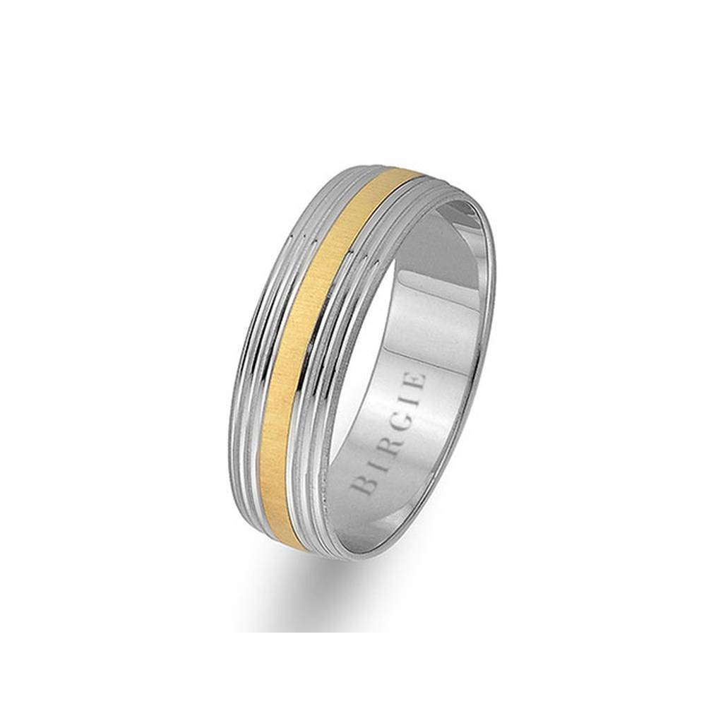 White and Yellow Gold Grooved Wedding Band