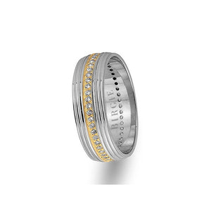 White and Yellow Gold Grooved Wedding Band w/ Diamonds